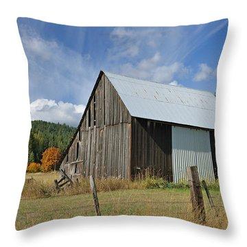 Hardy Creek Road Barn Throw Pillow