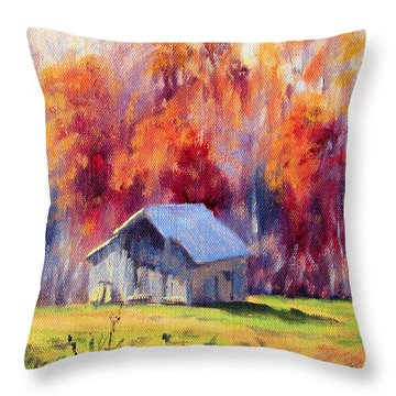 Hardy Road Barn- In Autumn Throw Pillow by Bonnie Mason