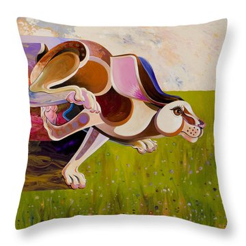 Throw Pillow featuring the painting Hare Borne by Bob Coonts