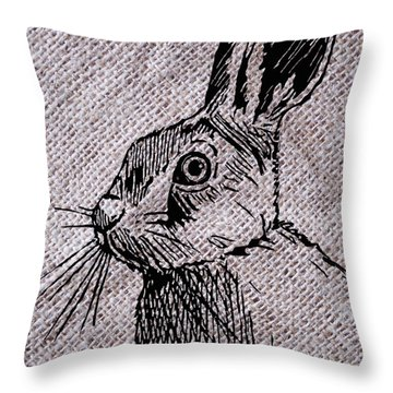 Hare On Burlap Throw Pillow