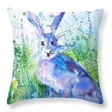 Hare Stare Throw Pillow
