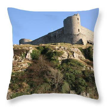 Throw Pillow featuring the photograph Harlech Castle by Christopher Rowlands