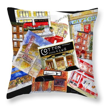 Harlem Jazz Clubs Throw Pillow
