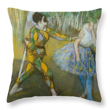 Harlequin And Columbine Throw Pillow by Edgar Degas