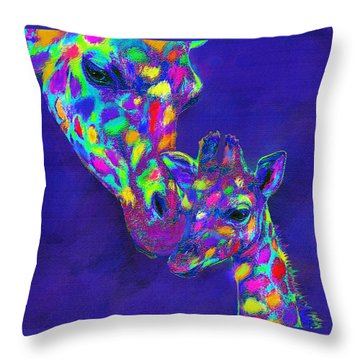 Harlequin Giraffes Throw Pillow by Jane Schnetlage