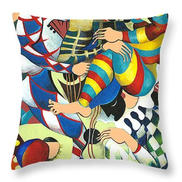 Harlequins Acting Weird - Why?... Throw Pillow by Elisabeta Hermann