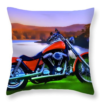Throw Pillow featuring the photograph Harley Art 01 by Kevin Chippindall