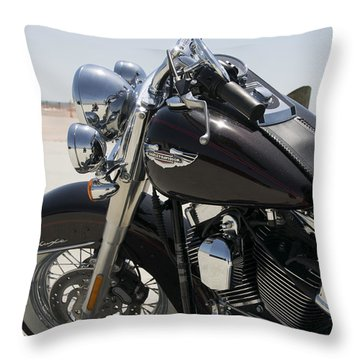 Harley At Beach Throw Pillow by Will Burlingham