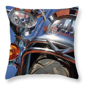 Throw Pillow featuring the photograph Harley Close Up by Shoal Hollingsworth
