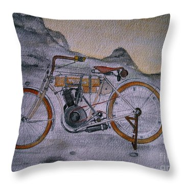 Throw Pillow featuring the painting Harley Davidson 1907 Bike by Pristine Cartera Turkus