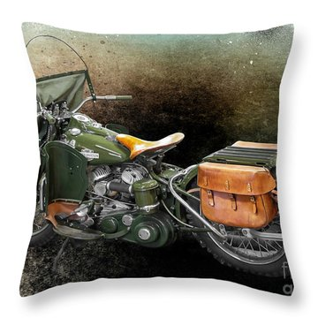 Harley Davidson 1942 Experimental Army Throw Pillow