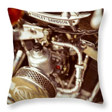Harley Davidson Closeup Throw Pillow by Carsten Reisinger
