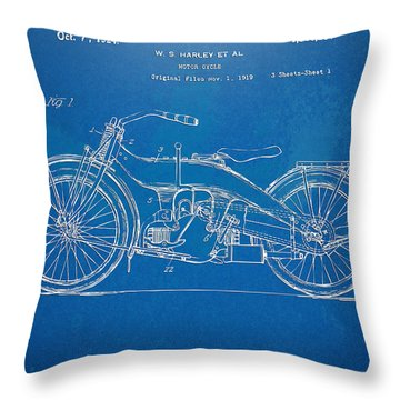Harley-davidson Motorcycle 1924 Patent Artwork Throw Pillow by Nikki Marie Smith