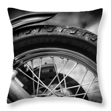 Harley Davidson Tire Throw Pillow by Carsten Reisinger
