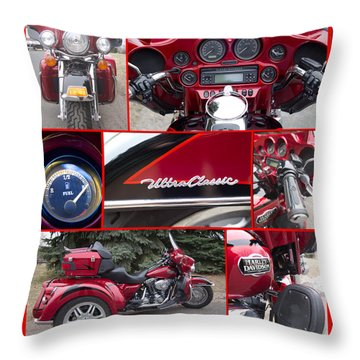 Harley Davidson Ultra Classic Trike Throw Pillow