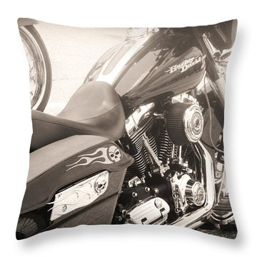 Harley Davidson With Flaming Skulls Throw Pillow