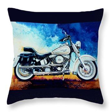 Harley Hog II Throw Pillow by Hanne Lore Koehler