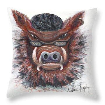 Harley Hog Throw Pillow by Nadine Rippelmeyer