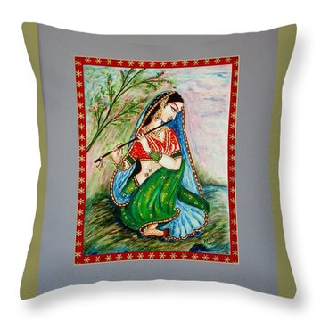 Throw Pillow featuring the painting Harmony by Harsh Malik