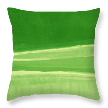 Harmony In Green Throw Pillow by Linda Woods