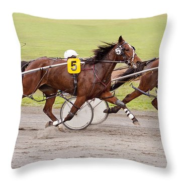 Harness Racing Throw Pillow by Michelle Wrighton
