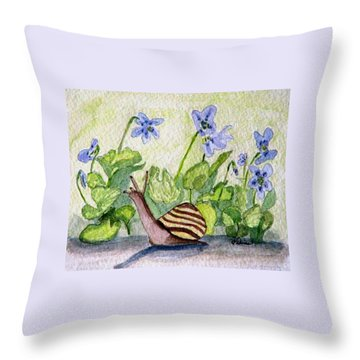 Throw Pillow featuring the painting Harold In The Violets by Angela Davies