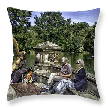 Harpist - Central Park Throw Pillow by Madeline Ellis