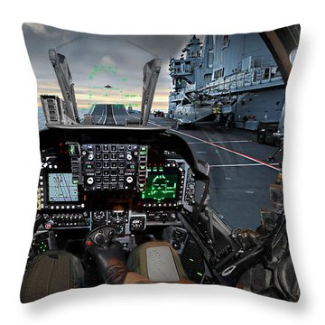 Harrier Cockpit Throw Pillow