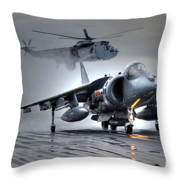 Harrier Gr9 Takes Off From Hms Ark Royal For The Very Last Time Throw Pillow by Paul Fearn