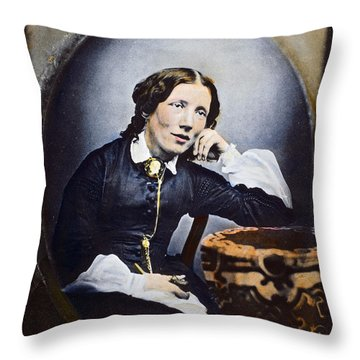 Harriet Beecher Stowe (1811-1896). American Abolitionist And Writer. Oil Over A Daguerrotype, C1852 Throw Pillow by Granger
