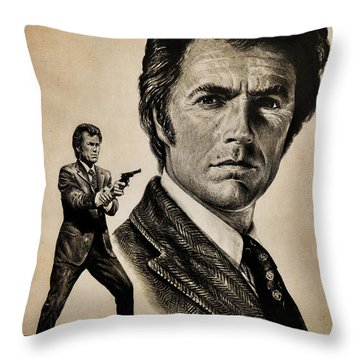 Harry Callahan  Tan Version Throw Pillow by Andrew Read