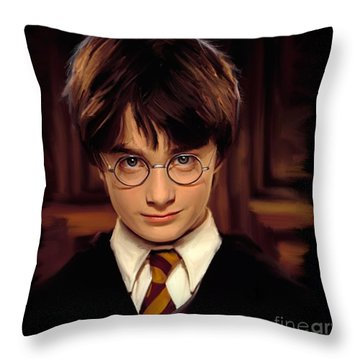 Harry Potter Throw Pillow by Paul Tagliamonte