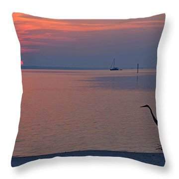 Harry The Heron Fishing On Santa Rosa Sound At Sunrise Throw Pillow by Jeff at JSJ Photography