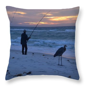 Harry The Heron Fishing With Fisherman On Navarre Beach At Sunrise Throw Pillow by Jeff at JSJ Photography
