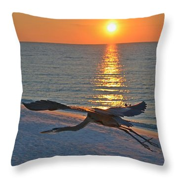 Harry The Heron Takes Flight To Reposition His Guard Over Navarre Beach At Sunrise Throw Pillow by Jeff at JSJ Photography