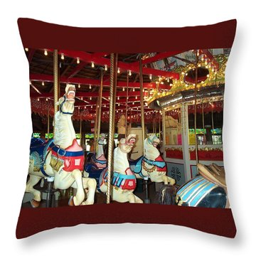 Throw Pillow featuring the photograph Hartford Carousel by Barbara McDevitt