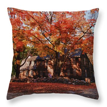 Throw Pillow featuring the photograph Hartwell Tavern Under Canopy Of Fall Foliage by Jeff Folger