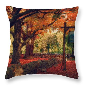 Throw Pillow featuring the photograph Hartwell Tavern Under Orange Fall Foliage by Jeff Folger