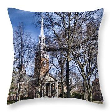 Harvard University Old Yard Church Throw Pillow