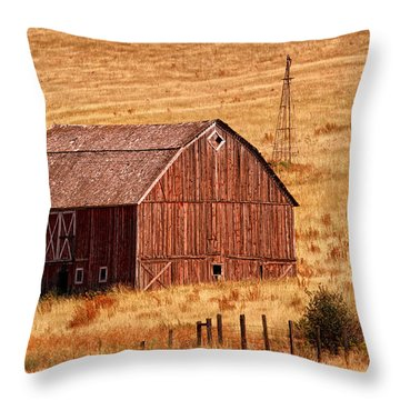 Harvest Barn Throw Pillow by Mary Jo Allen