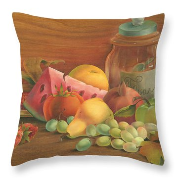 Throw Pillow featuring the painting Harvest Fruit by Doreta Y Boyd