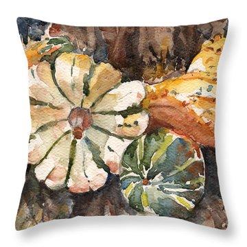 Harvest Gourds Throw Pillow