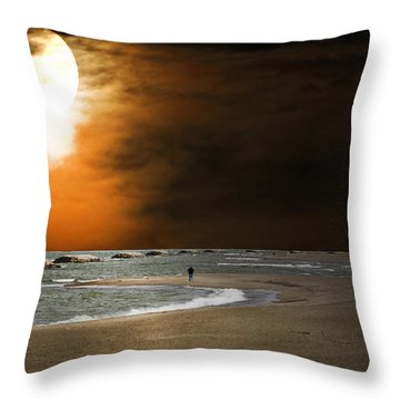 Harvest Moon On The Beach Throw Pillow by Randall Branham
