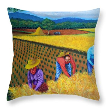 Harvest Season Throw Pillow by Lorna Maza