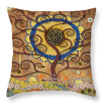 Throw Pillow featuring the tapestry - textile Harvest Swirl Tree by Kim Prowse