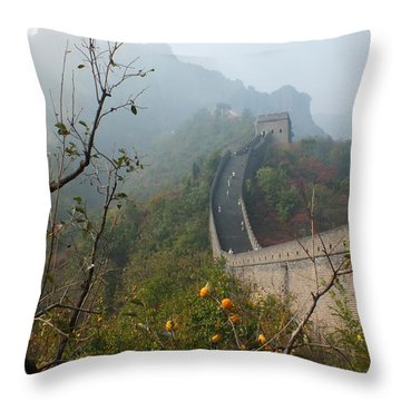 Harvest Time At The Great Wall Of China Throw Pillow