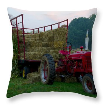 Harvest Time Tractor Throw Pillow by Bill Cannon