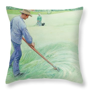 Harvesters Throw Pillow by Carl Larsson