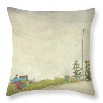 Harvesting Blueberries  Throw Pillow