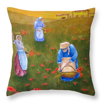 Harvesting Poppies In Tuscany Throw Pillow by Pamela Allegretto